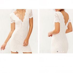 UO KIMCHI BLUE lace dress white scalloped